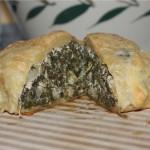 Greek spinach pie cut