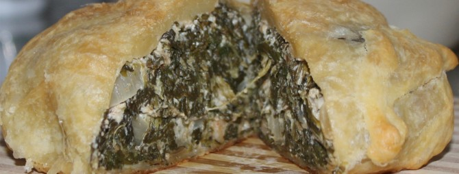 Greek spinach pie cut